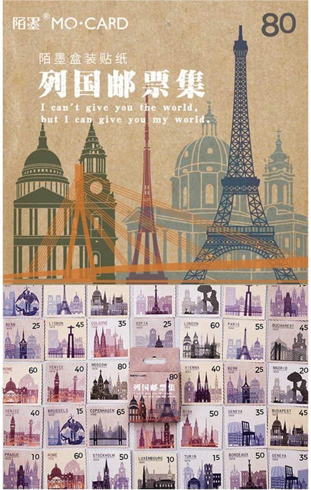 cancelleria per lalbum 2 Bastoncini per scrapbooking Angshi Vintage Stamp Collection etichette Adesivi decorativi riviste diari