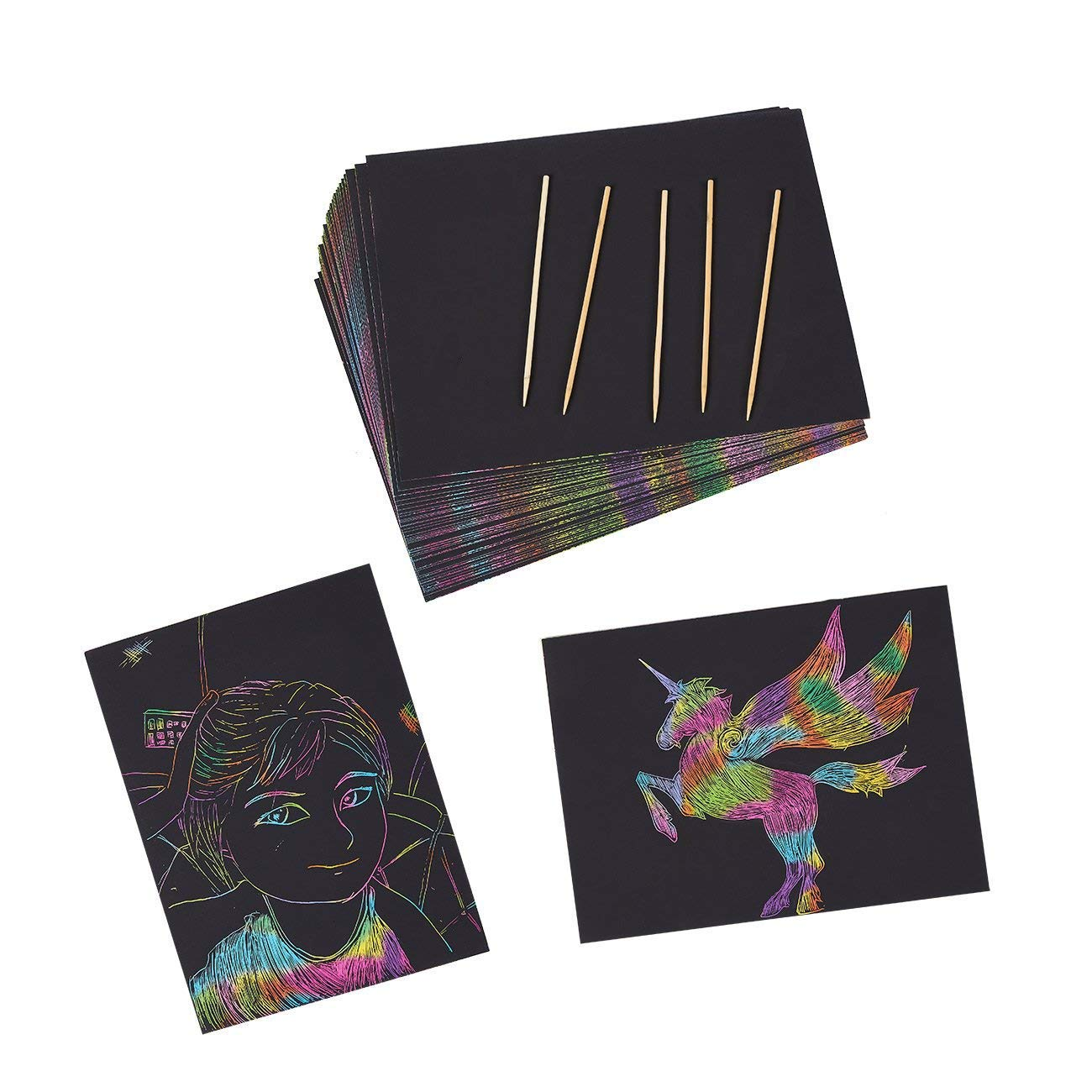 Rainbow Scratch Paper with 5 Wooden Stylus Pens - 50-Pack Rainbow Scratch-Off Art Paper, Black Doodle Pad with Rainbow Background, Art Supplies for Kids, 8.25 x 11 Inches