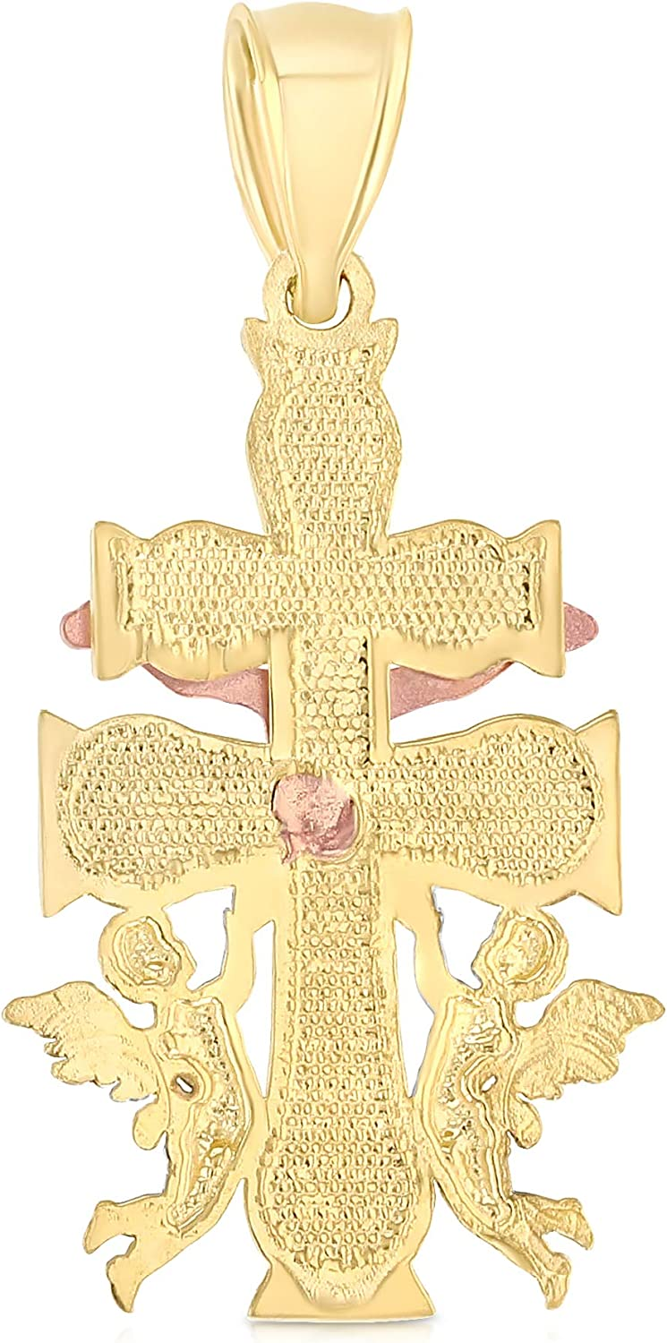 14K Tri Color Gold Religious Cross of Caravaca Charm Pendant For Necklace or Chain Ioka