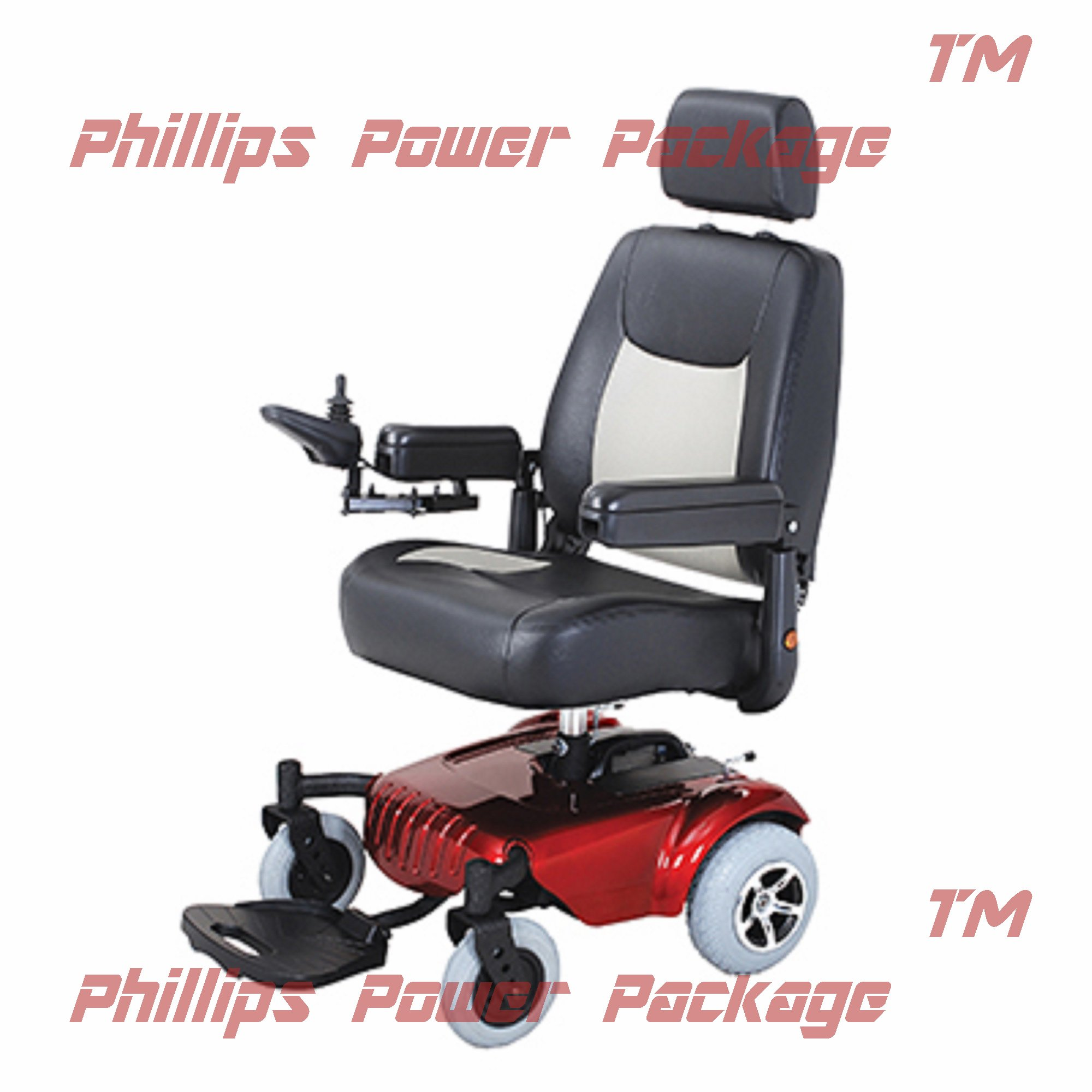 Merits Health Products - Junior - Super Light Mini RWD Power Chair - 19''W x 18''D - Red - PHILLIPS POWER PACKAGE TM - TO $500 VALUE