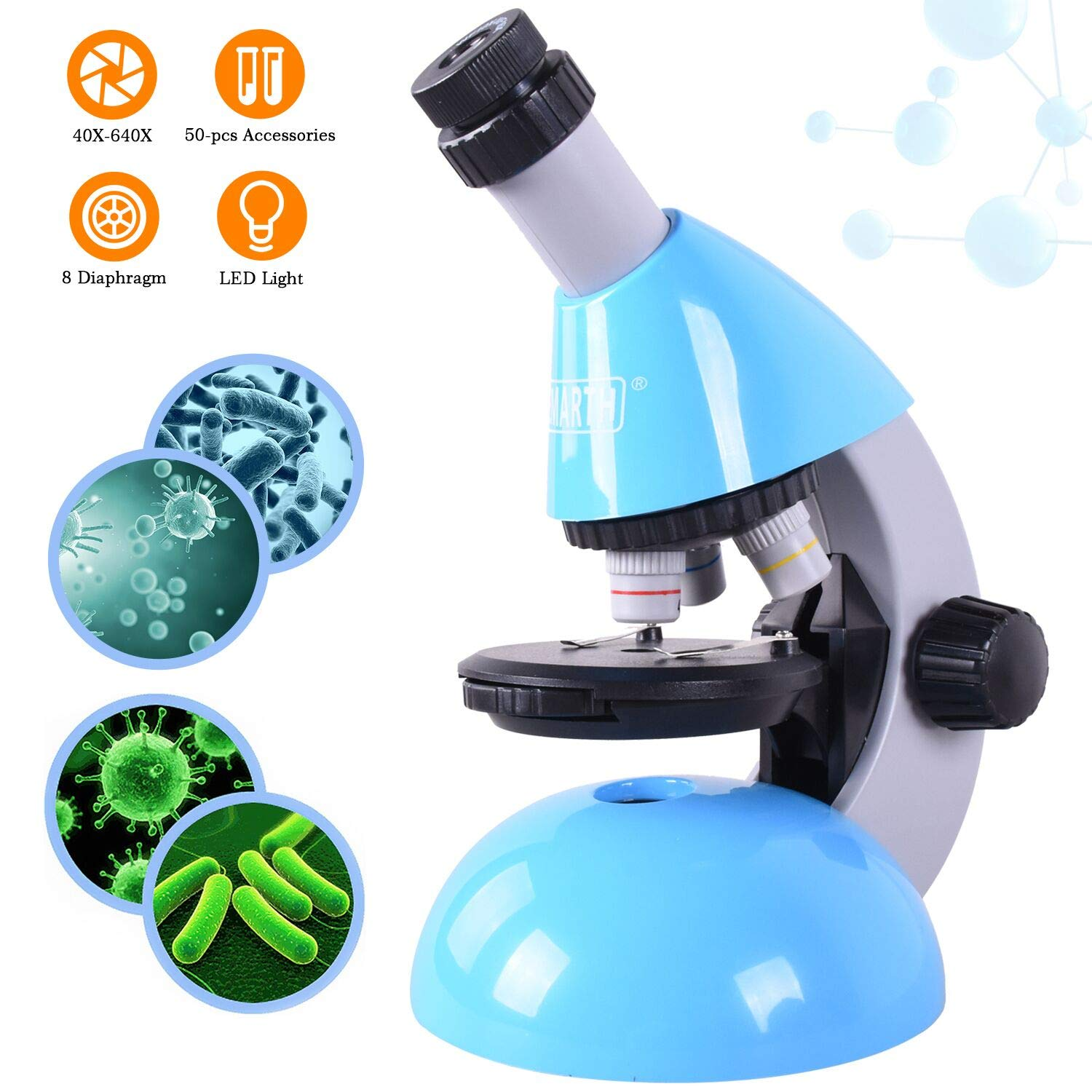 Elecfly Microscope, Kids Microscope 40X- 640X Magnification with 50 pcs Science Kits Beginner Microscopes Includes 25 Specimen Sliders for Students Children Age 5+