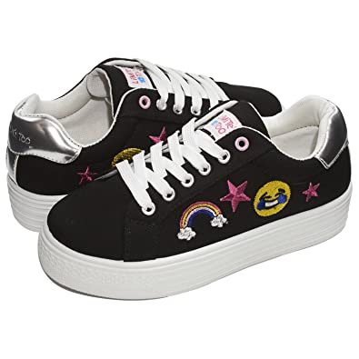 4b6cf73b831d80 Limited Too Kids Girls Low Top Lace up Fashion Sneakers (See More Sizes)  Black