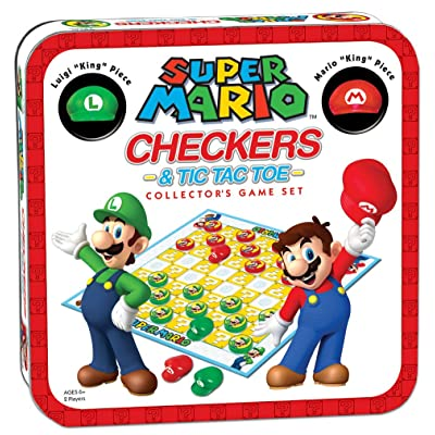 Super Mario Checkers & Tic-Tac-Toe Collector's Game Set | Featuring Super Mario Bros - Mario & Luigi | Collectible Checkers and TicTacToe Perfect for Mario Fans: Game: Toys & Games