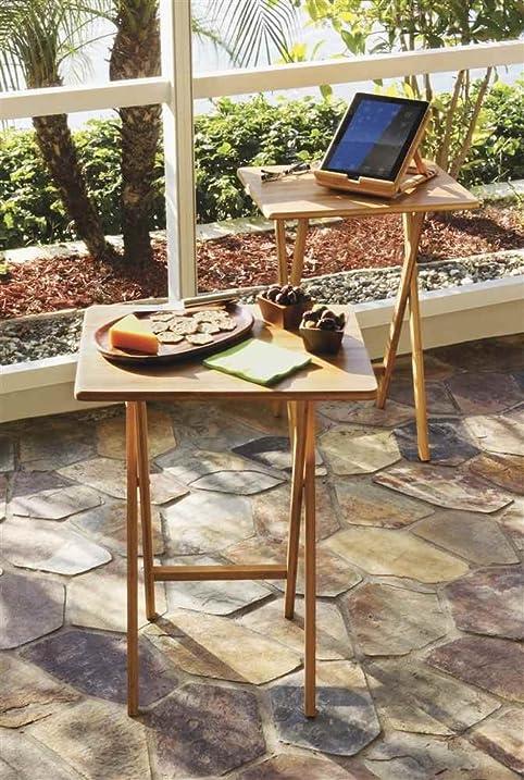 Lipper International 803 2 Bamboo Rectangular Snack Table, Set Of 2