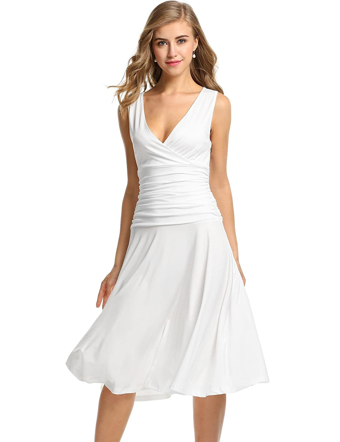 Meaneor Women's Sleeveless V Neck Crossover Ruched Waist Slimming Swing Dress MAH005034_W_S#