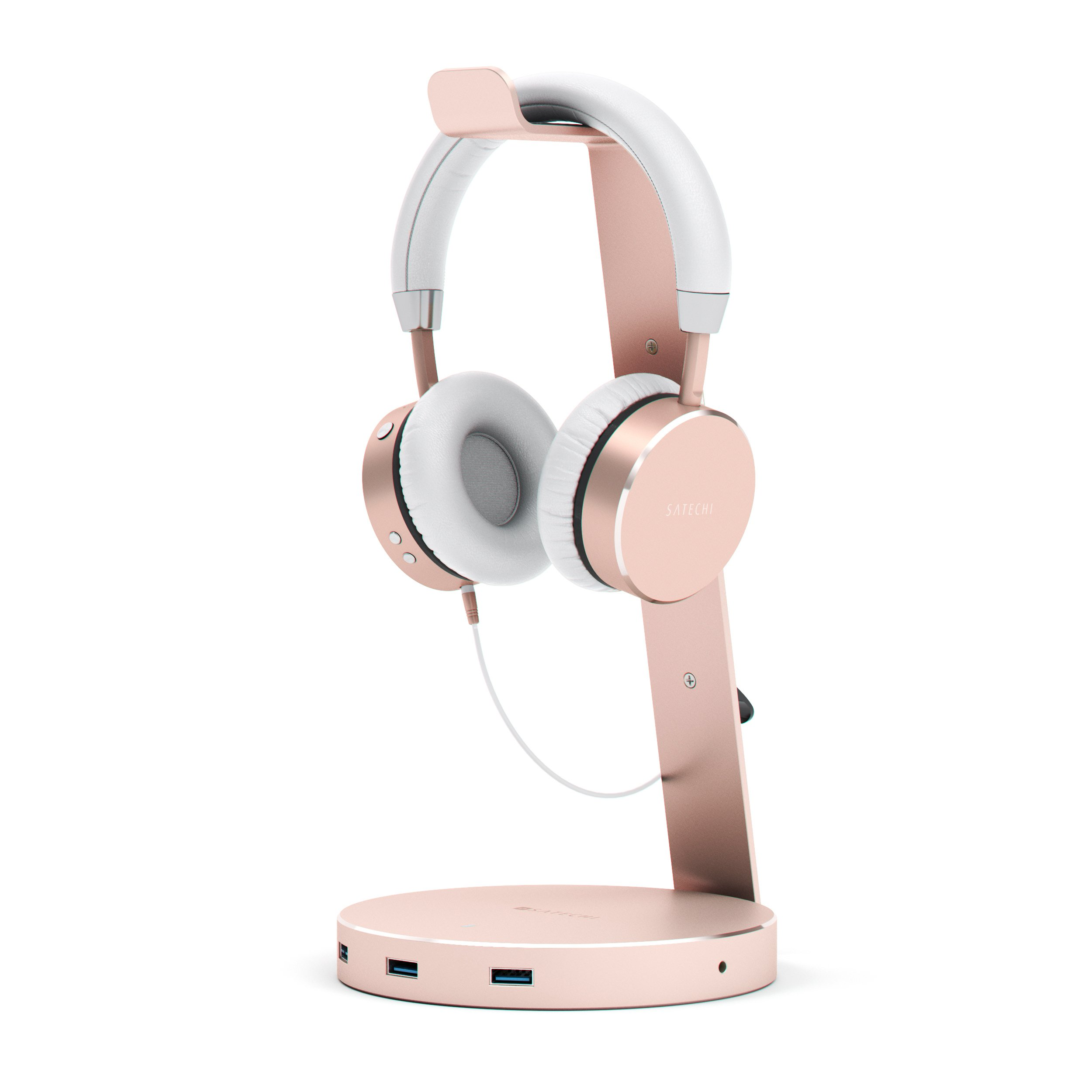 Satechi Aluminum USB Headphone Stand Holder with Three USB 3.0 Ports and 3.5mm AUX port - Suitable For All Headphone Sizes (Rose Gold)
