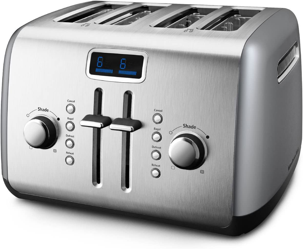 KitchenAid KMT422CU 4-Slice High-Lift Lever Digital Display Toaster, Contour Silver (Renewed)
