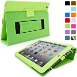 iPad 2 Case, Snugg™ - Smart Cover with Flip Stand & Lifetime Guarantee (Green Leather) for Apple iPad 2