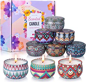 OFUN Scented Candles Gift Set for Women, Stress Relief Aromatherapy Candles Natural Soy Wax Portable Tin Candle - Lavender,Vanilla,Magnolia,Mango,Rose,Jasmine,Lemon,Apple & Cinnamon,Gardenia