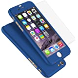 """iPhone 6 Plus Case, Coocolor Ultra Thin Full Body Coverage Protection Hard Slim iPhone 6 Plus Case with Tempered Glass Screen Protector for Apple iPhone 6 Plus 5.5"""" (Blue)"""