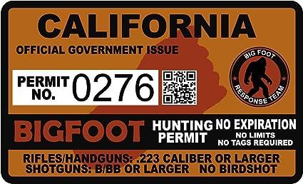 Bumper Sticker Sasquatch Hunting Permit CALIFORNIA