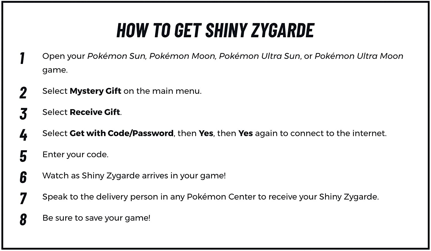 Pokemon Shiny Zygarde Gamestop Event Code 2018 Sun/Moon Ultra Sun/Ultra Moon