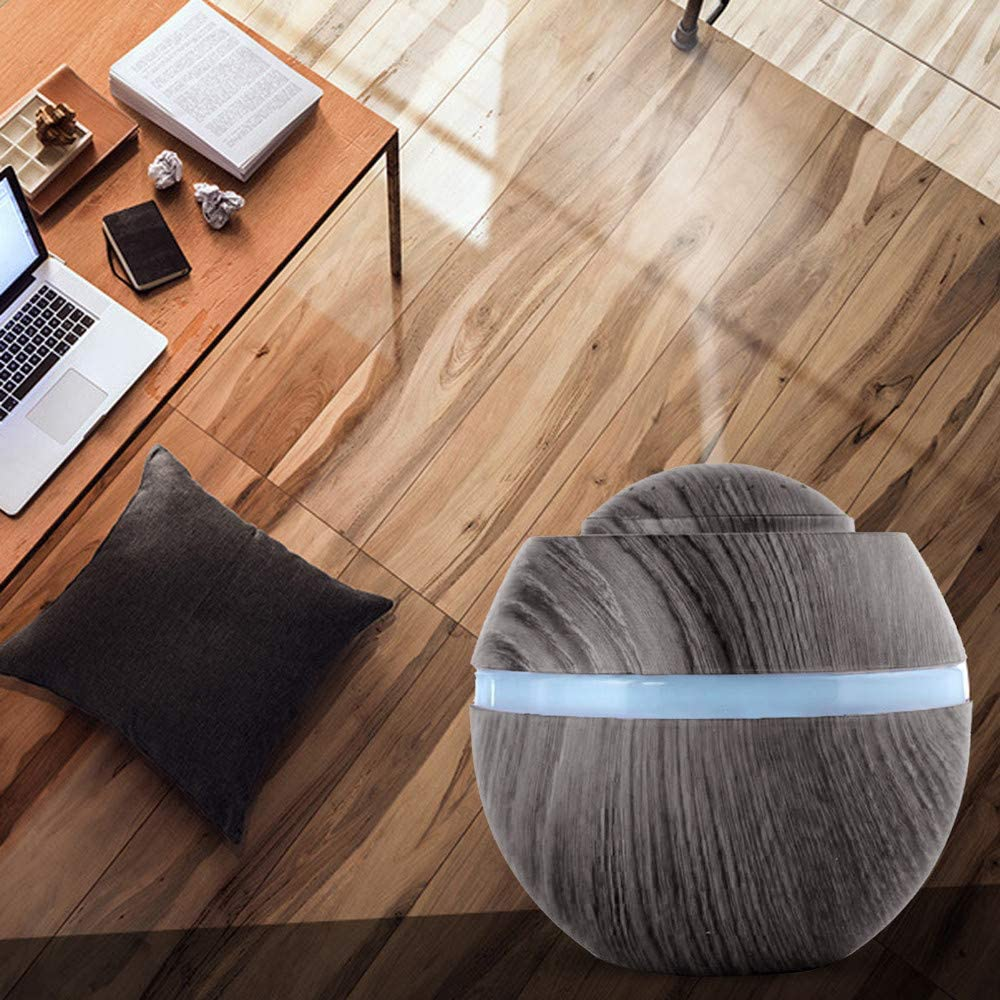 Waterless Auto off Air Purifiers A 500ml USB Wood Grain Aroma Essential Oil Ultrasonic Air Humidifier Cool Mist Diffuser with 7 Color Changing for Baby Room Bedroom Study Sleep