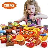 Tencoz Play Food Set, 139 Pieces Play Food Kitchen Toys with Fruits Vegetables Drinks Etc Pretend Play Food Toys Gifts…
