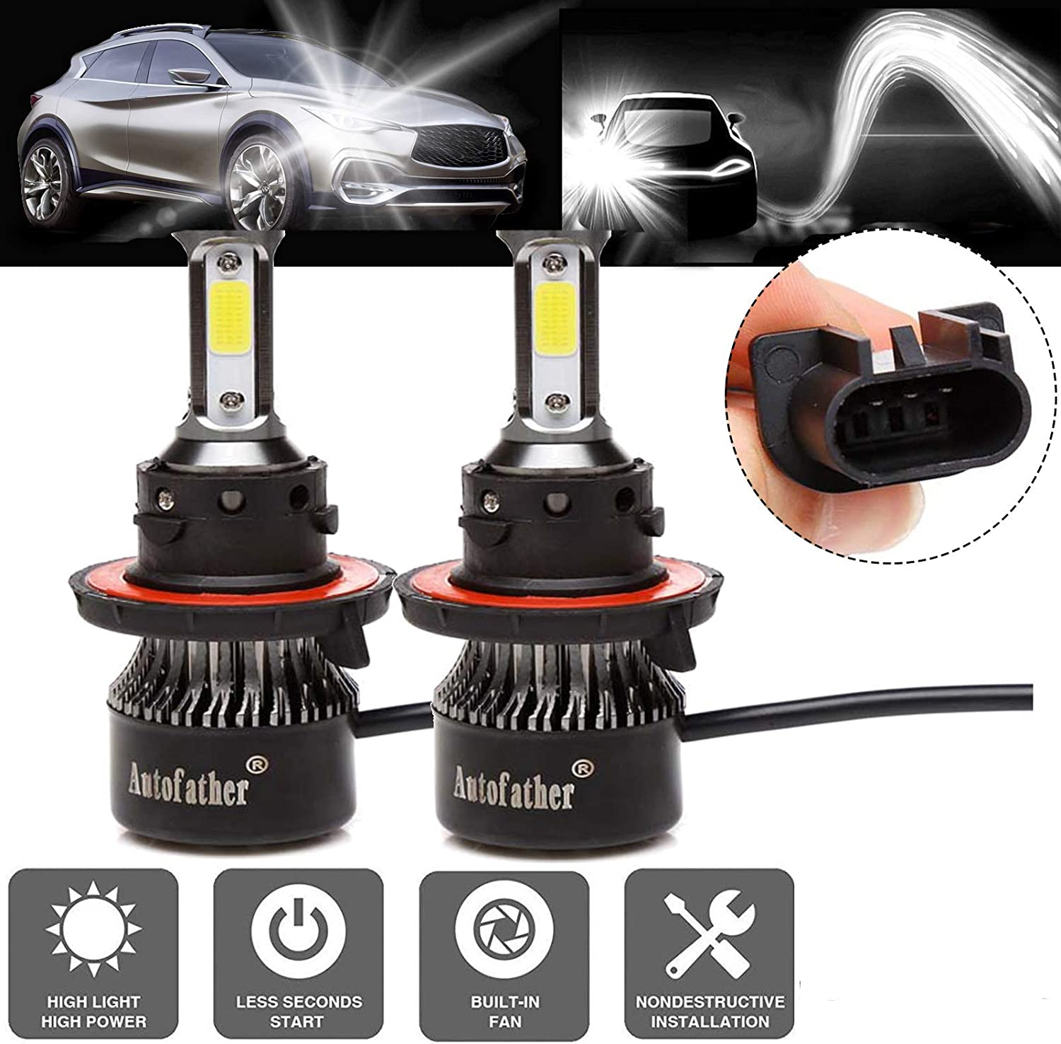 New 4-Side H13 9008  LED Headlight Bulb Kits 6000K Hi//Lo Dual BEAM For Ford