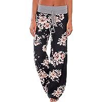Xinsy Comfy Stretch Estampado Floral con Cordones para Mujer Palazzo Wide Leg Lounge Pants,Color1,XXL