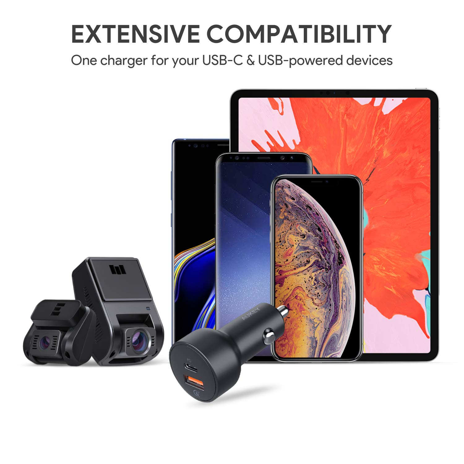 AUKEY 36W USB C PD Car Charger, 18W Power Delivery & Quick Charge 3 0 Ports  for Google Pixel 2 XL, iPhone Xs/Max/X, Samsung Galaxy S9 and More