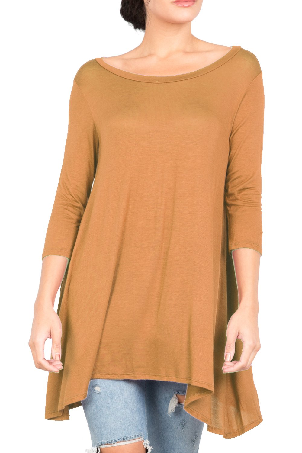 T2411PX 3/4 Sleeve Round Neck Relaxed A-Line Tunic T Shirt Top Camel 2X