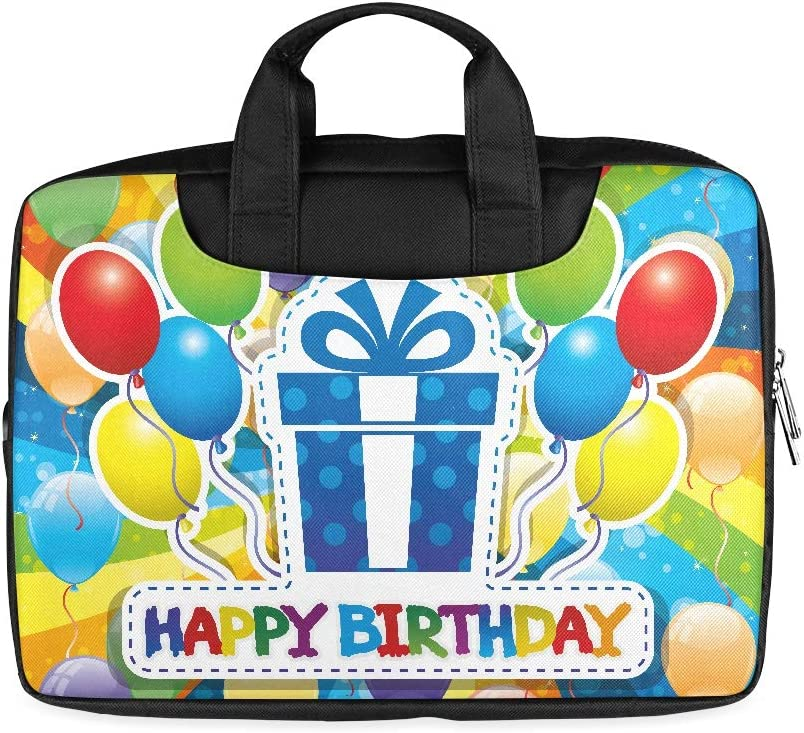 13 Inch Vector Illustration Happy Birthday Protective Laptop Bag with Handle Lightweight Laptop Satchel Bag Fits MacBook Air Pro