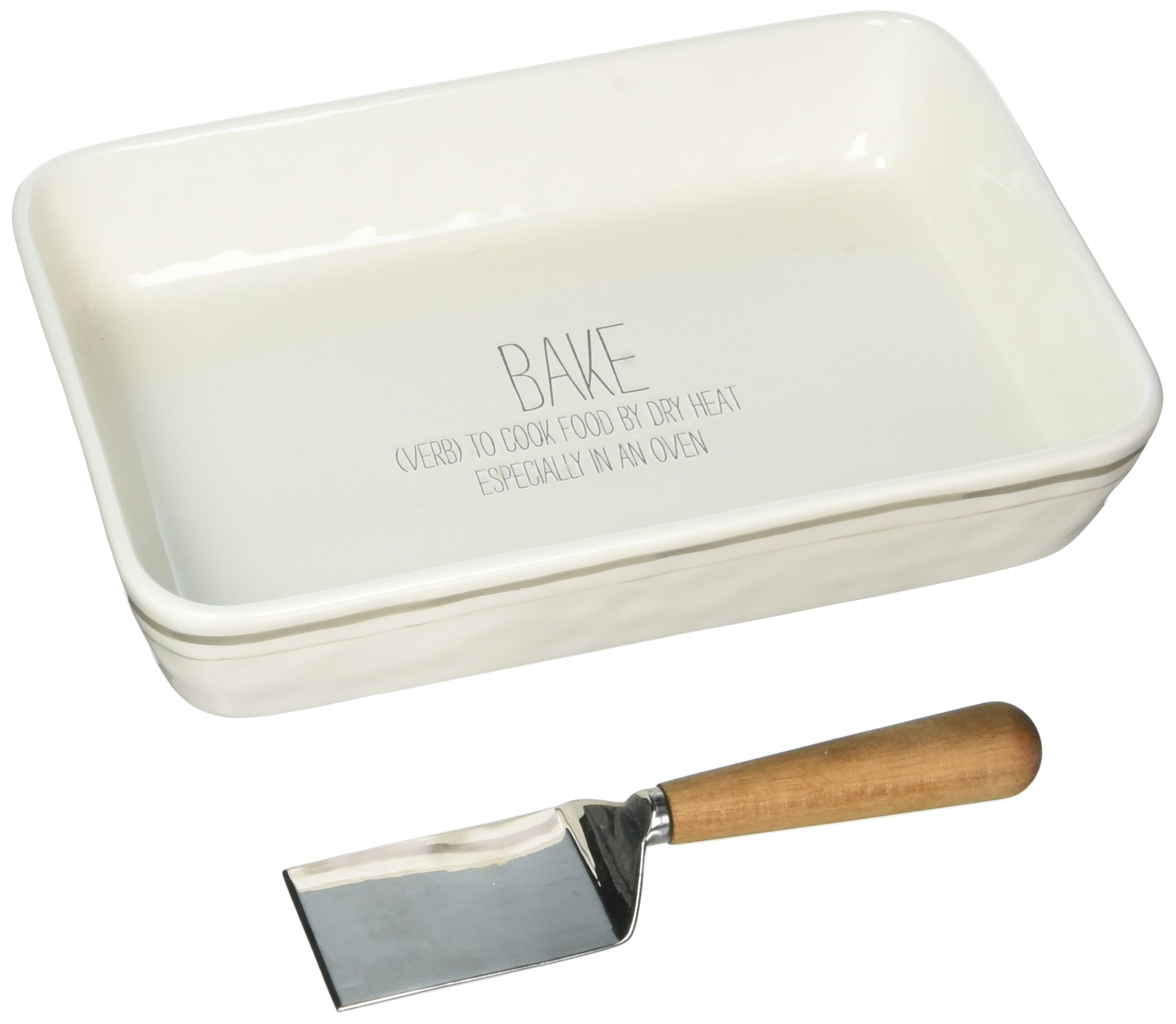 Mud Pie 4804010 Ceramic Baking Dish White