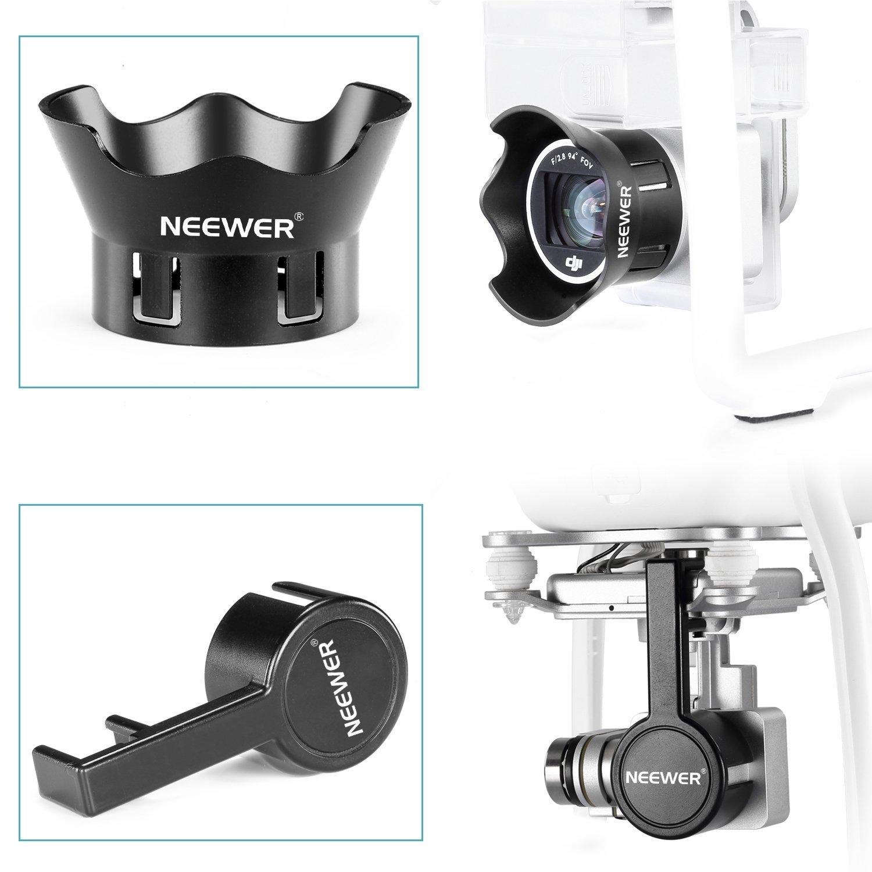 Black Protective Camera Lens Cap Protector Cover Flower-Type Rose Petal Lens Hood Made of Premium ABS Plastic Neewer for DJI Phantom 3 Standard Professional and Advanced