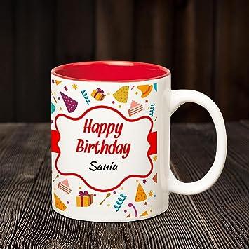 Buy Huppme Happy Birthday Sania Inner Red Coffee Name Mug Online At