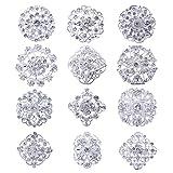 Lot 12pc Clear Rhinestone Crystal Flower Brooches