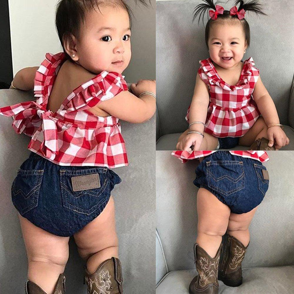 POTO Summer Baby Clothing 2Pcs Toddler Baby Girl Plaid Skirted T-Shirt Tops+Denim Shorts Clothes Set