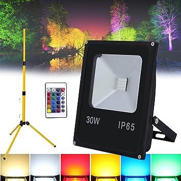 Hengda® 30W RGB Foco LED Foco proyector + Teleskop trípode del ...