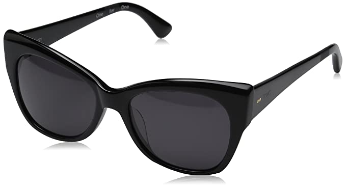 3483ec557f79 Image Unavailable. Image not available for. Colour: TOMS 10009602 Women's  Shiny Black Frame Dark Grey Lens Oversized Sunglasses
