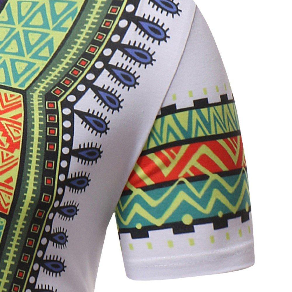 SFE Men Summer Shirts,Men Slim Fit Short Sleeve African Printed Muscle Tee T-Shirt Casual Tops Blouse
