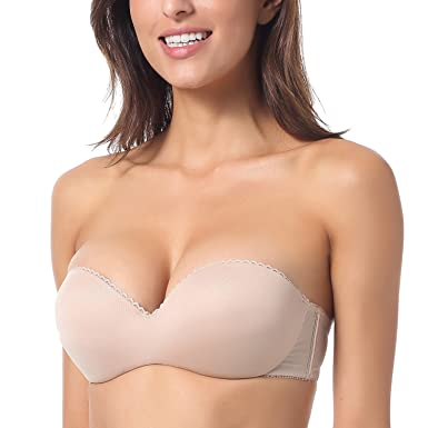 97a425570f DOBREVA Women s Convertible Multiway Underwire Padded Strapless Push Up Bra  Beige 32A