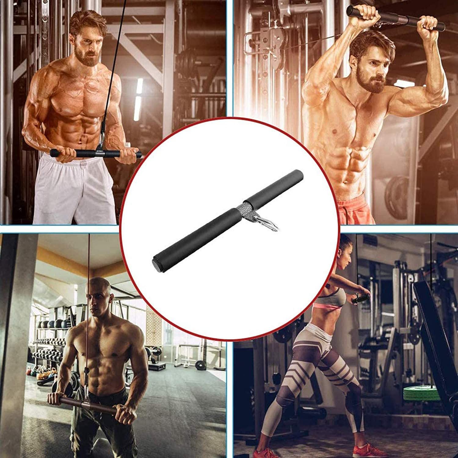 Fitness Workout System 16inch RUNYA Straight Bar Cable Attachment Bicep Pull Bar Weight Machine Accessories for Home Gym Cable Machines