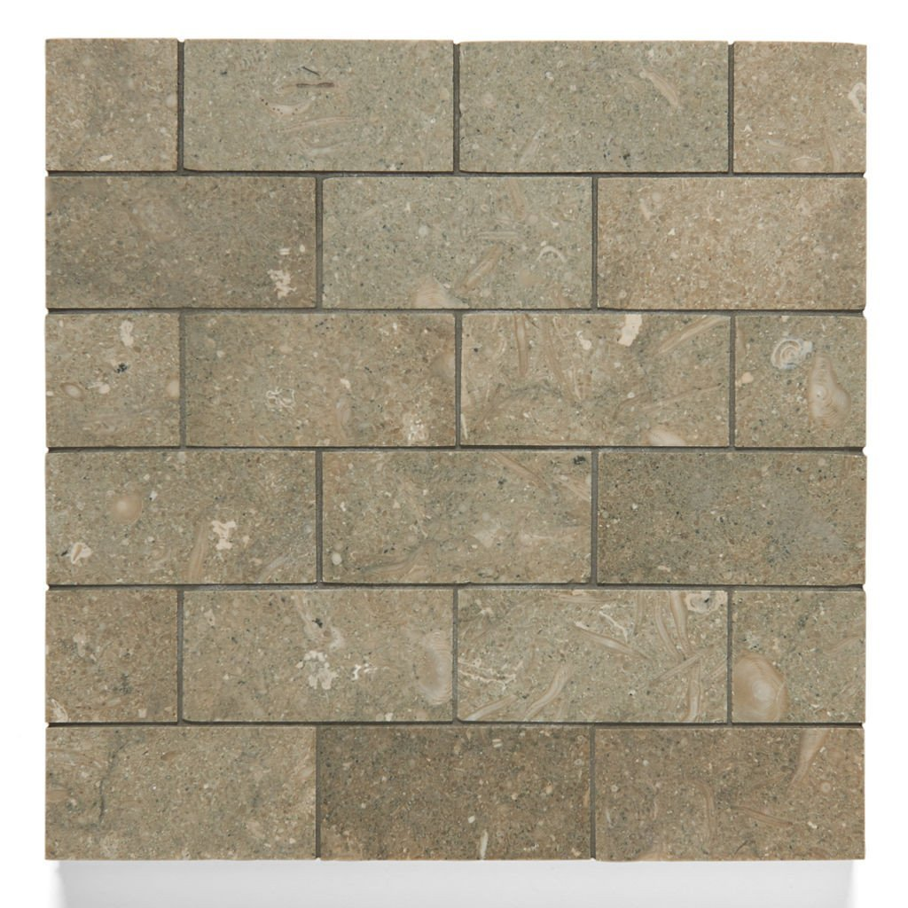Waterworks Pistachio Limestone 1 7/8'' x 3 3/4'' Staggered Mosaic in Honed Finish