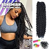 Passion Twist Hair 18 Inch Long Bohemian For Passion Twist Crochet Braiding Hair Water Wave Synthetic Fiber Natural Hair…