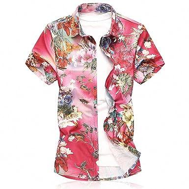 ef2f90210475f Emlyn Adrian Men Short Sleeve Silk Hawaiian Shirt Men Summer Floral Shirts  Man 1 S