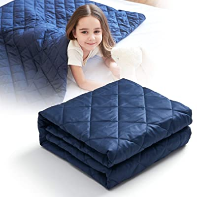 CO-Z 5lbs Weighted Blanket for Kids Size 36x48 inches 300TC Premium Breathable 100% Cotton Material, Durable Soft Heavy Blanket with Glass Beads, Skin-Friendly, Navy Blue: Home & Kitchen