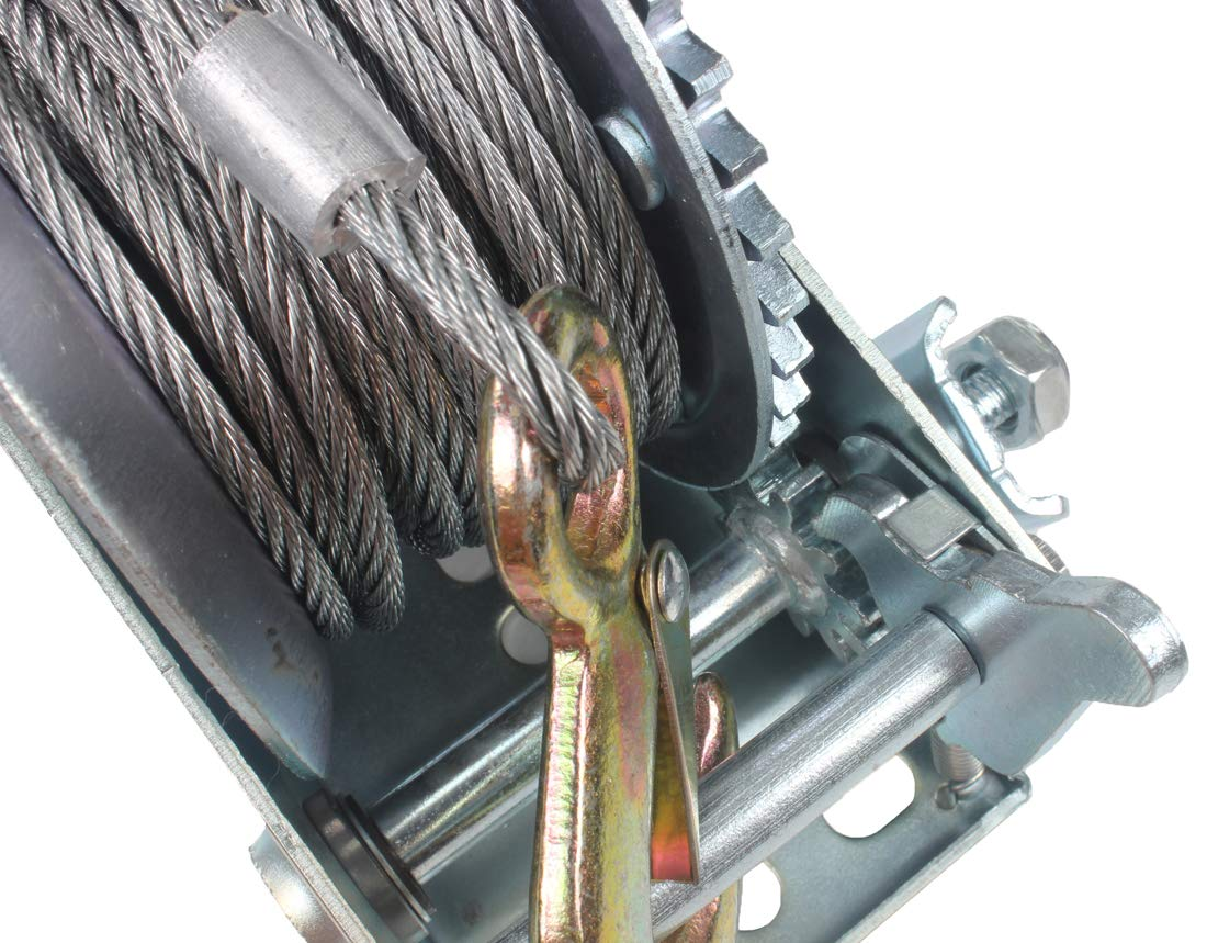 AC-DK 1600 lb - 3500 lb Hand Gear Winch Come with Two Crank Handles! - Manual Operating with Strap & Cable for Boats and Trailers(1600 lb with Cable). by AC-DK (Image #4)