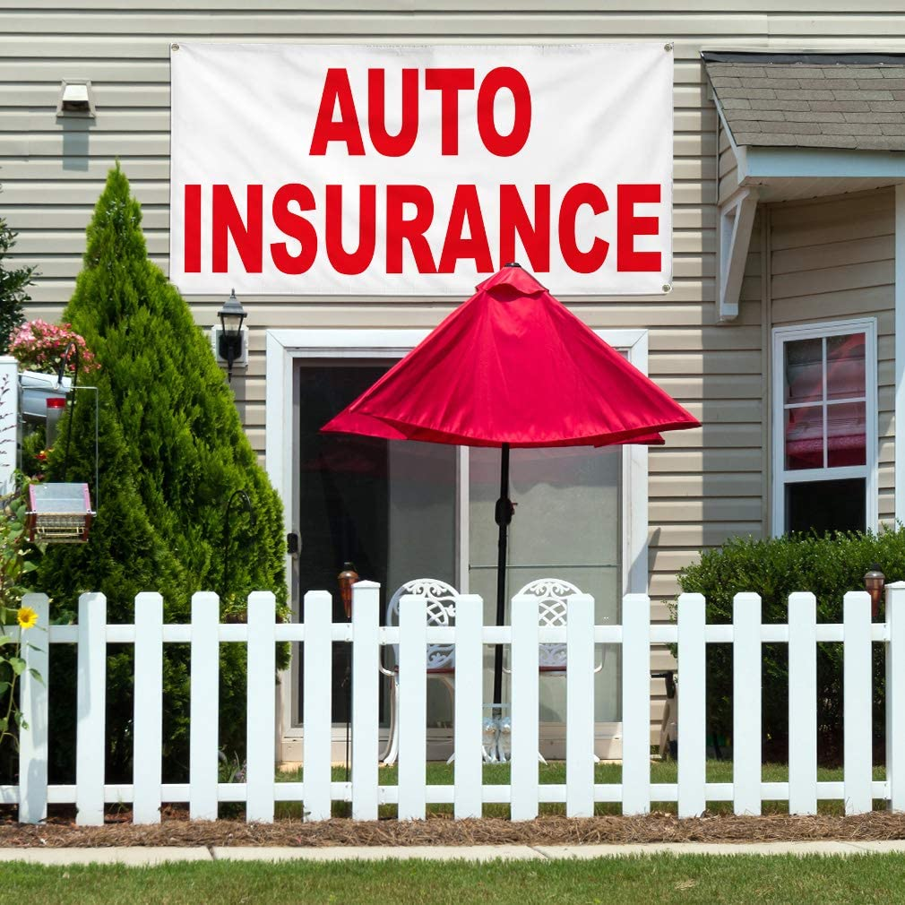 Vinyl Banner Multiple Sizes Auto Insurance Red Car Repair Shop Business Outdoor Weatherproof Industrial Yard Signs 8 Grommets 48x96Inches
