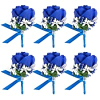 JaosWish 4/6/8PCS Flower Men Boutonniere Handmade Silk Men Corsage for Groom Wedding...