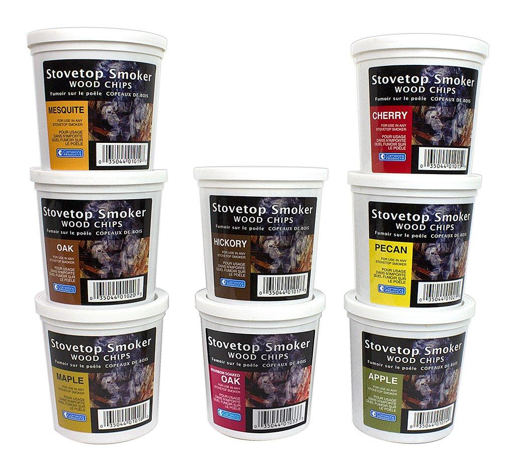 Wood Smoking Chips Variety Gift Set - Set of 8 Pints (Oak, Apple, Cherry, Pecan, Maple, Bourbon, Hickory, Mesquite)