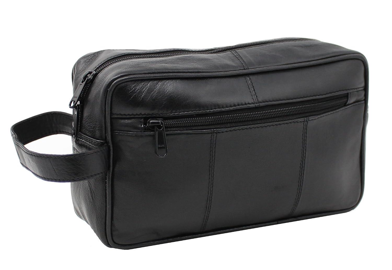 92035ace7b5d RAS WALLETS Mens Black Genuine Leather Travel Overnight Wash Gym Toiletry  Shaving Bag 3510  Amazon.co.uk  Luggage