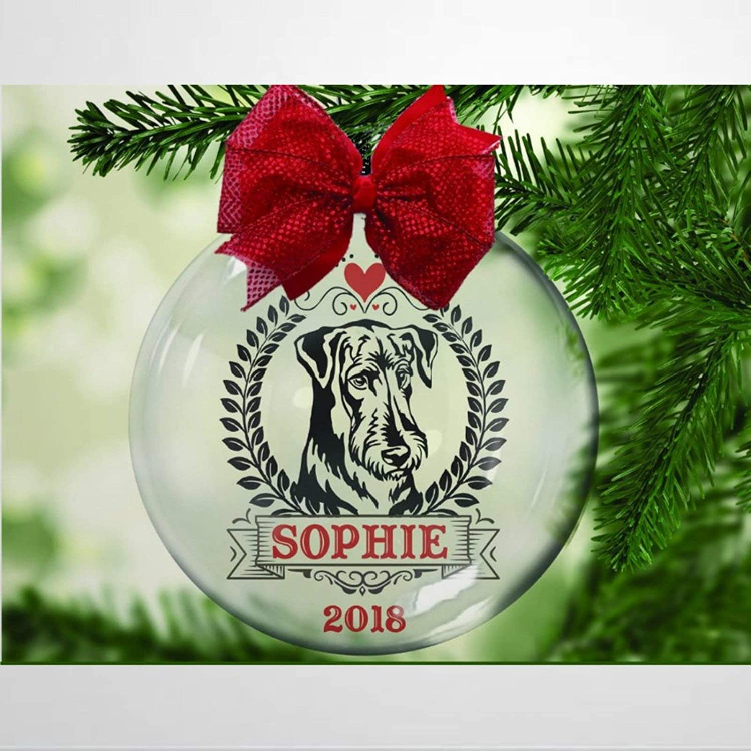DONL9BAUER Airedale Terrier Personalized Christmas Balls Ornaments for Xmas Tree Dog Lover, Rescue, Adopt Hanging Ball Shatterproof Delicate Baubles Christmas Decorations for Holiday Wedding Party