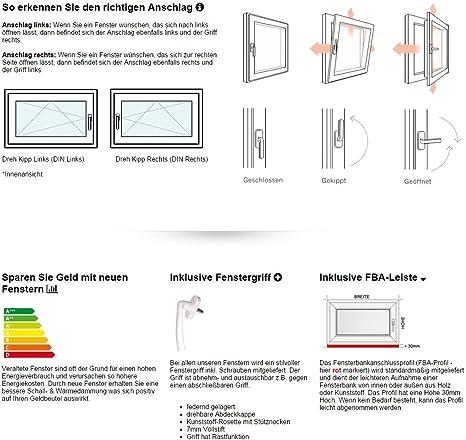 BxH: 50x45 cm DIN rechts schneller Versand Kunststoff wei/ß verschiedene Ma/ße Kellerfenster Fenster 60mm Profil 3-fach-Verglasung
