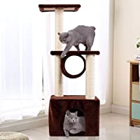 Cat Tree Triple-Platform Condo Kitten Pet House Cat Tower Furniture with Sisal-Covered Scratching Post Coffee