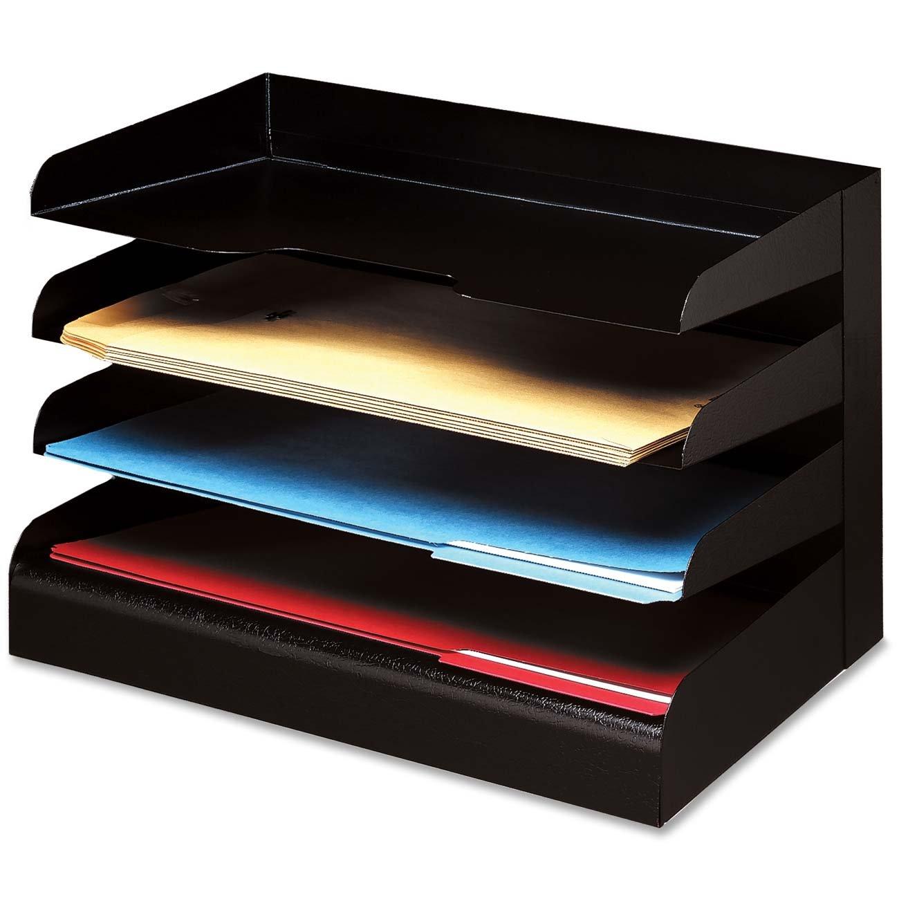 Buddy Products 0414-4 Classic 4 Tier Trays, Legal Size, Steel, 9.5 x 9.675 x 15-Inch, Black