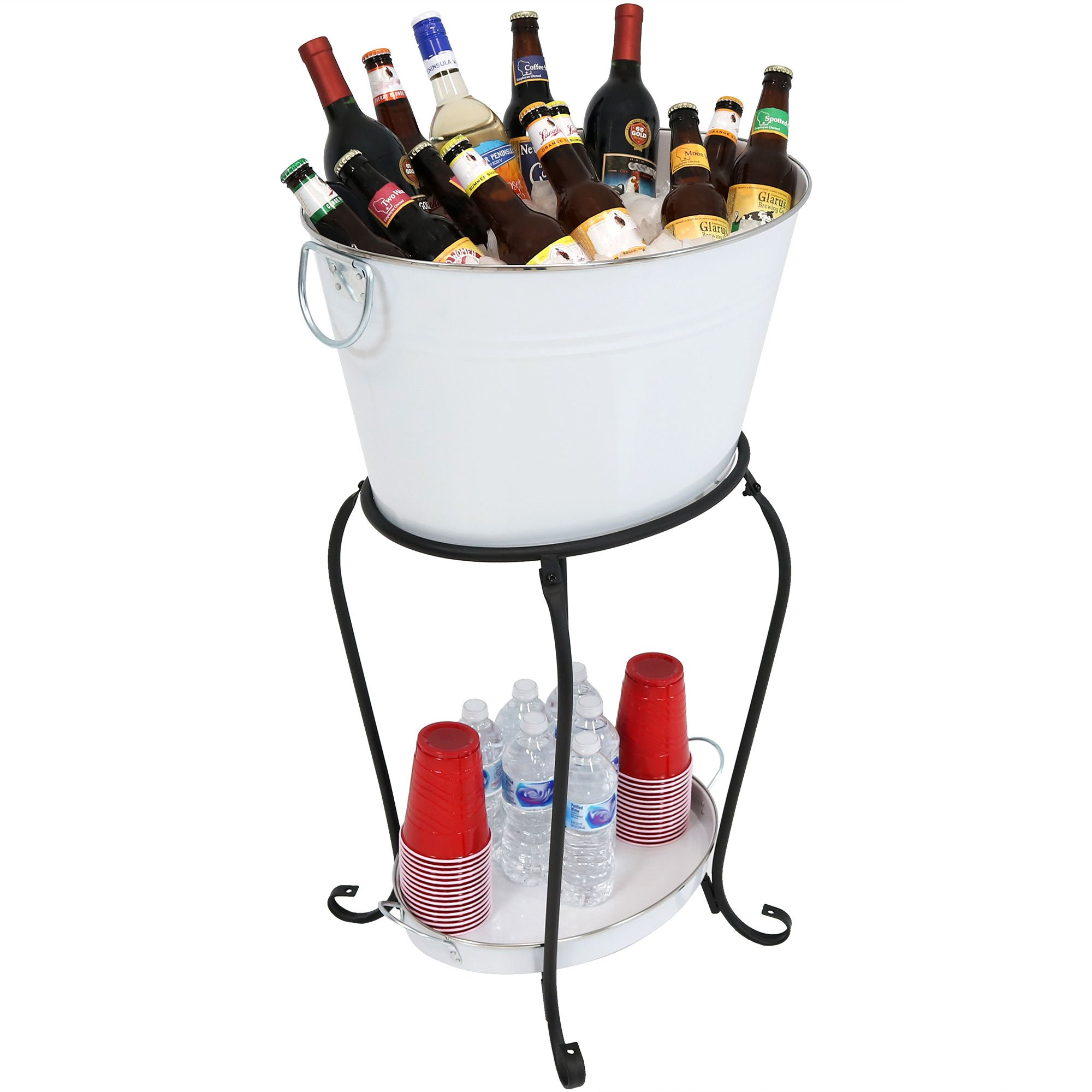 Sunnydaze Large Ice Bucket Beverage Holder with Stand and Tray for Parties, White Finish, Holds Beer, Wine, Champagne and More by Sunnydaze Decor