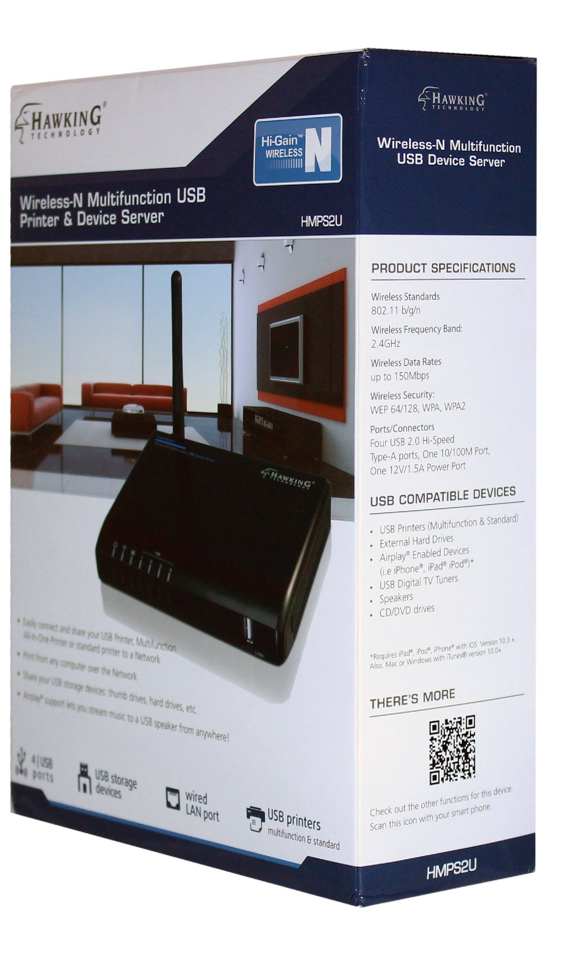 Hawking Technology 4-Port Wireless-N Multifunction USB Printer and Device Server (HMPS2U) by Hawking Technology (Image #2)