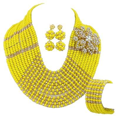 AfricanBeads 12-row 6 mm amarillo y champán africanos disfraz boda ...