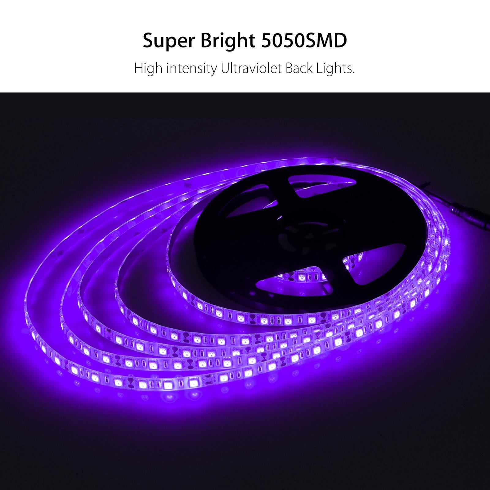 LinkStyle UV Black Lights LED Strip, 16.4Ft 300 LEDs 5050 SMD Ultraviolet Light UV LED Strip Light, Flexible & IP65 Waterproof DC 12V Purple Light Night Fishing(Power Adapter Not Included) by LinkStyle (Image #2)